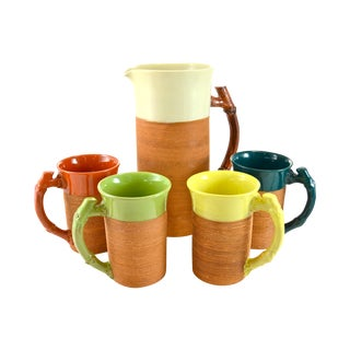 Bamboo Handle Pitcher & Four Mugs