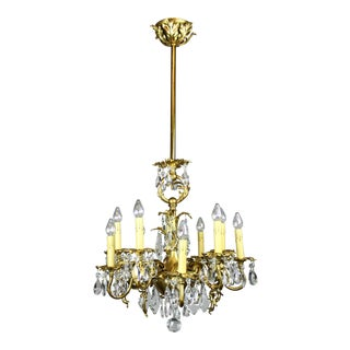 Gold-Plated Rococo Converted Gas Chandelier (10-Light)