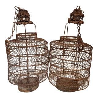 Antique Chinese Mesh Metal Lanterns - A Pair