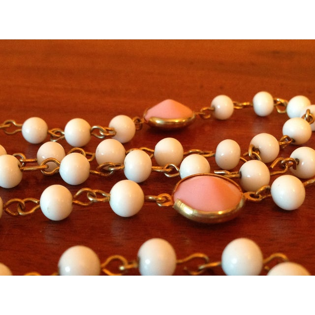 Image of White & Pink Milk Glass Long Flapper Necklace