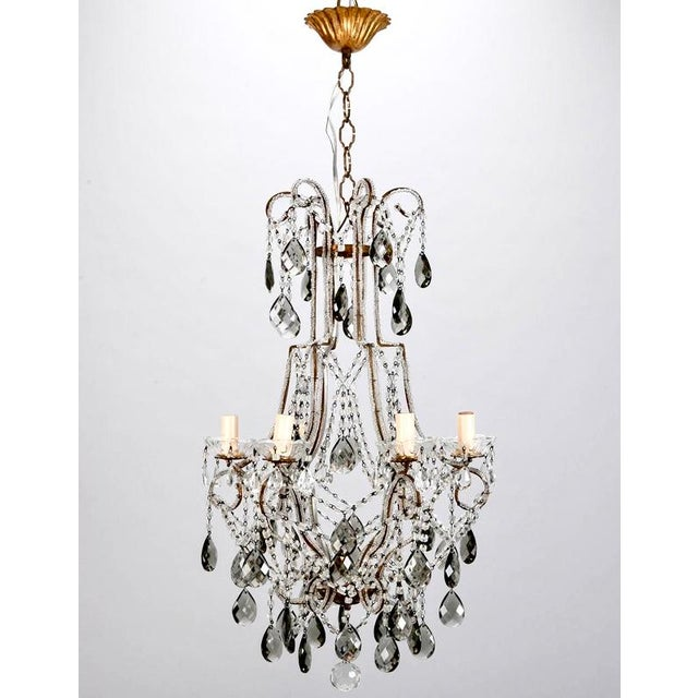 Image of French Six Light All Crystal Beaded Chandelier With Smoke Color Drops