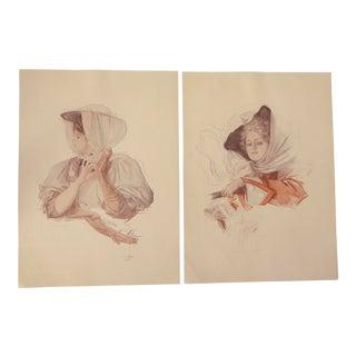 1906 Fischer Ladies Art Prints: A Pair