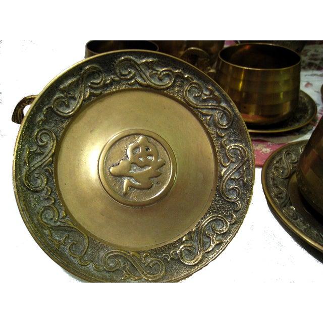 Vintage Hammered Brass Goldfish Tea Set - Image 7 of 10