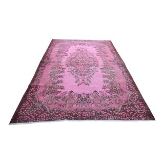 Vintage Turkish Pink Overdyed Rug - 6' X 9'9""