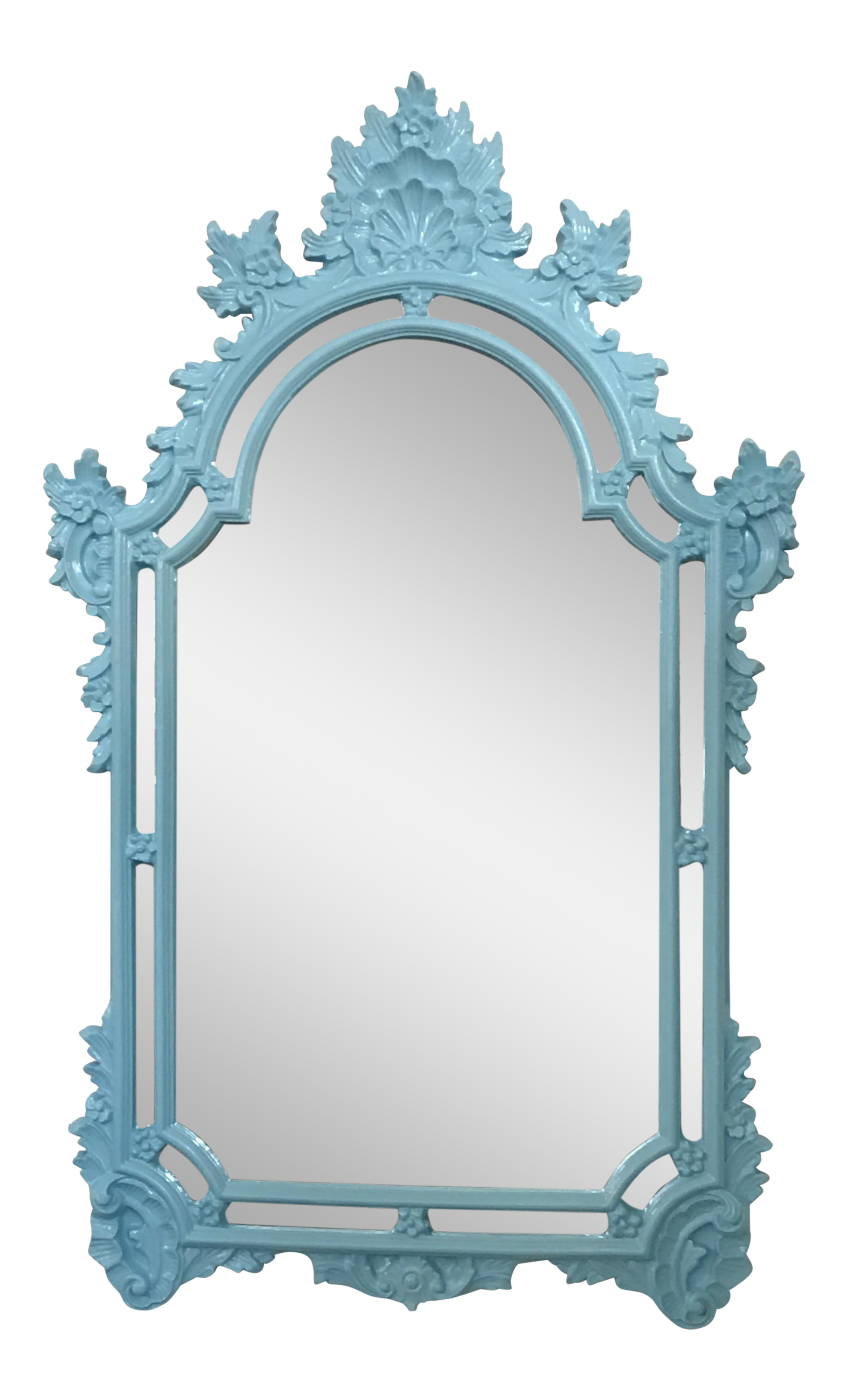 Turquoise Wall Mirror vintage hollywood regency style turquoise blue wall mirror | chairish