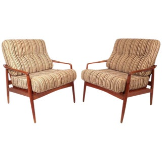 Mid-Century Modern Danish Teak Lounge Chairs - a Pair