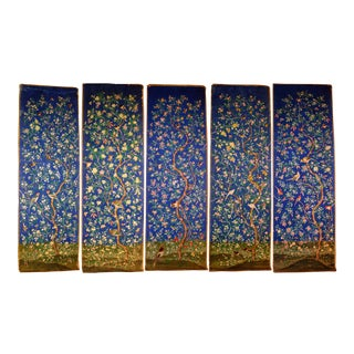 Chinoiserie Style Chinese Hand Painted Wallpaper - Set of 5