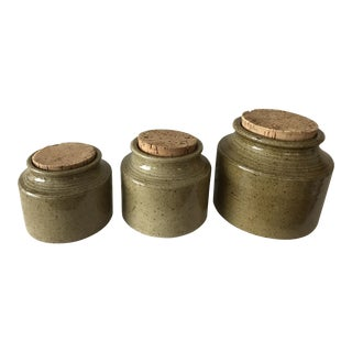 Moss Green Ceramic Canisters - Set of 3