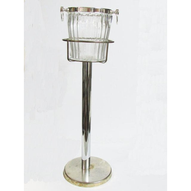 Silver Plate Champagne Stand & Crystal Bucket Set - Image 2 of 6
