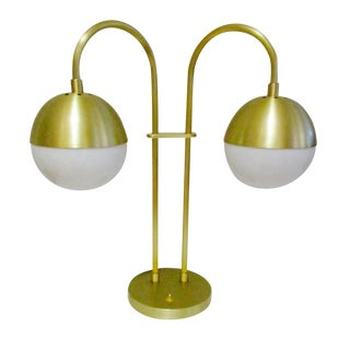Hollywood Regency Brass Globe Table Lamp