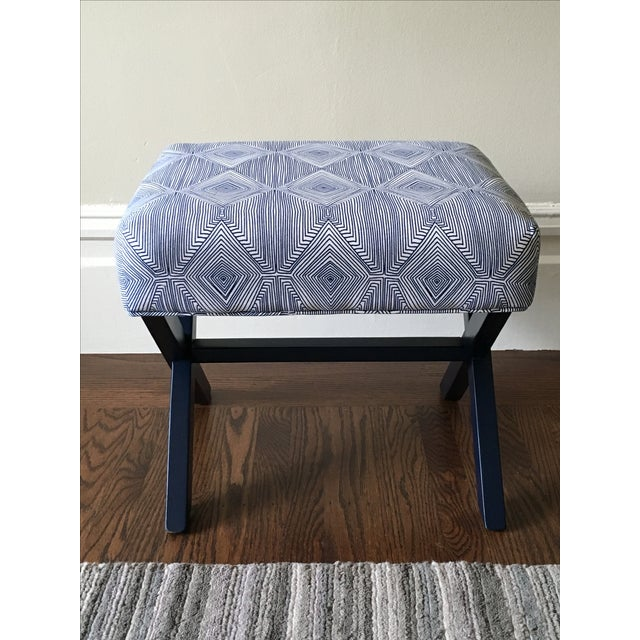 Image of Navy & White X-Leg Bench