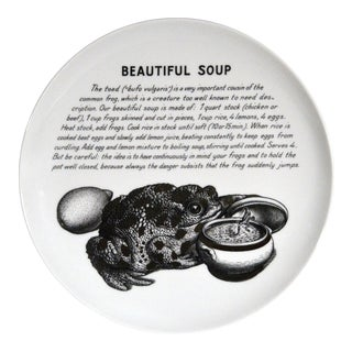 Vintage Piero Fornasetti Fleming Joffe Recipe Plate Beautiful Soup, 1960s.