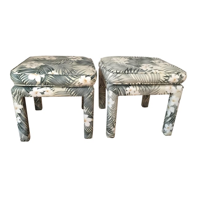 Parsons Stools With Palm Leaf Fabric - A Pair - Image 1 of 11