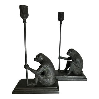 Maitland-Smith Bronze Monkey Candleholders - A Pair