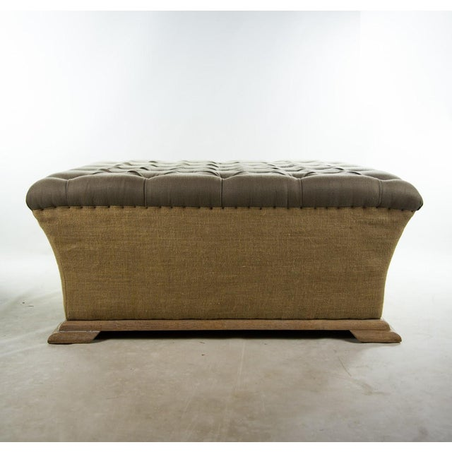 Webster Burlap Linen & Wood Large Tufted Ottoman - Image 4 of 11