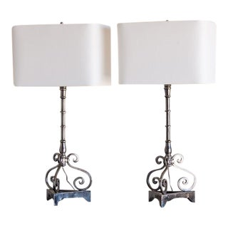 Pair Tall Italian Style Polished Metal Candle Stand Lamps, Italy