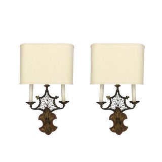 Transitional Wood & Metal Sconces - A Pair