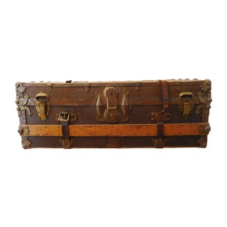 Wood Steamer Trunk With Leather Straps