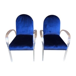 1970's Velvet Lucite Dining Chairs - Set of 6