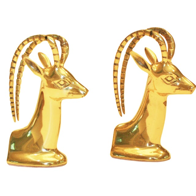 Vintage Brass Ibex Bookends - Pair - Image 1 of 4