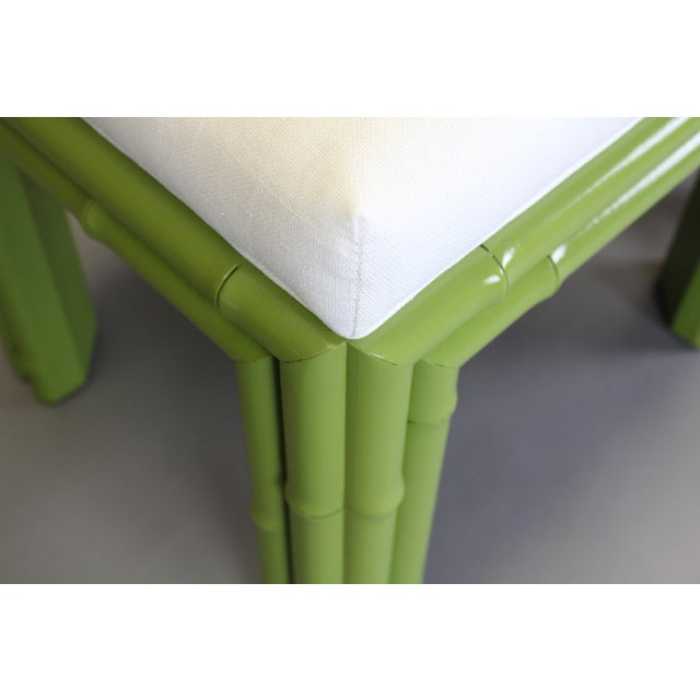 Pair of Faux Bamboo Green Benchches - Image 5 of 11
