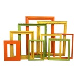 Image of Distressed Picture Frames in Citrus - Set of 9