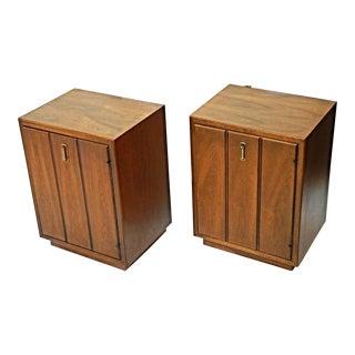 Mid-Century Modern Walnut Nightstands - A Pair