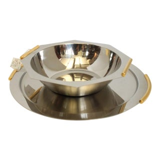 Italian Stainless Steel & Brass Tray & Bowl - A Pairs