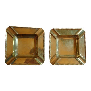 Vintage Brass Classic Ashtrays - A Pair