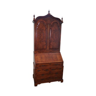 Monumental English Burl Walnut Secretary Desk