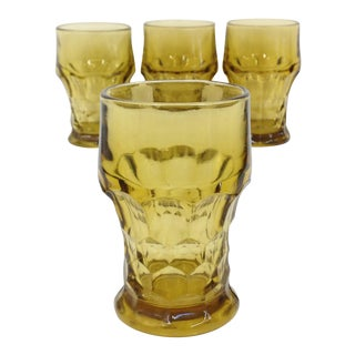Anchor Hocking Vintage Amber Glass Tumblers - Set of 4