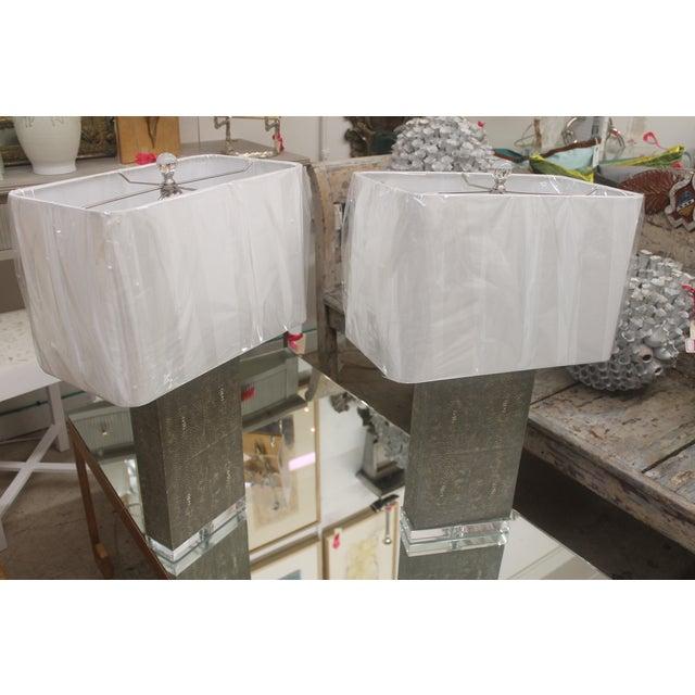 Shagreen Column Lamps - Pair - Image 3 of 7