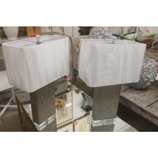 Image of Shagreen Column Lamps - Pair