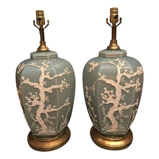 Japanese Celadon Table Lamps - A Pair