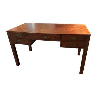 Vintage Italian Campaign Burled Wood Parsons Desk