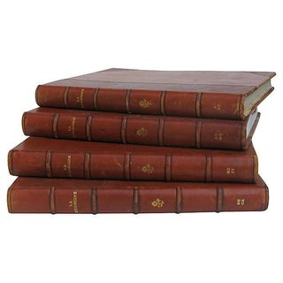 French Leather-Bound Medical References - Set of 4