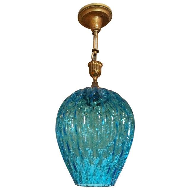 Vintage Blue Murano Glass Light Pendant - Image 1 of 5