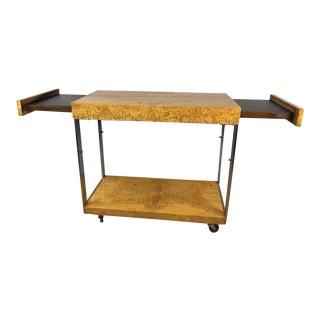 Milo Baughman Mid-Century Burlwood Dry Bar Cart