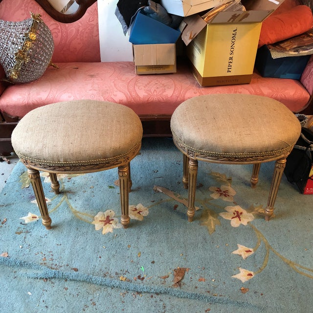French Louis XV Neoclassical Stools - A Pair - Image 2 of 7