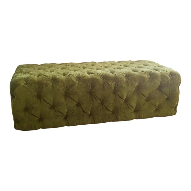 Green Tufted Velvet Ottoman/Coffee Table - Image 1 of 7