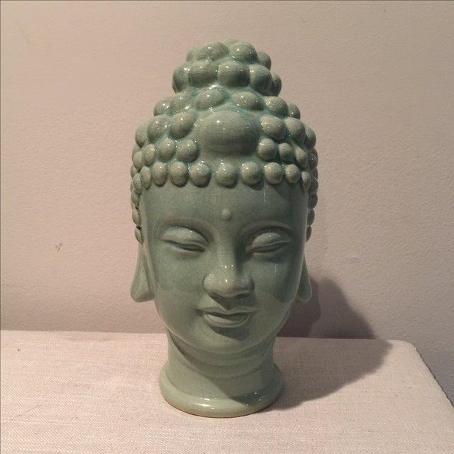 Jade Colored Buddha Head - Image 2 of 6