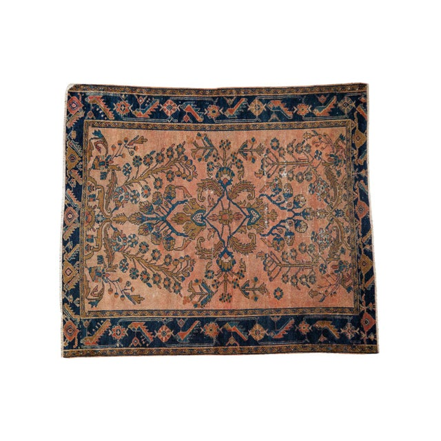 "Antique Lilihan Square Rug - 5' X 5'9"" - Image 1 of 9"