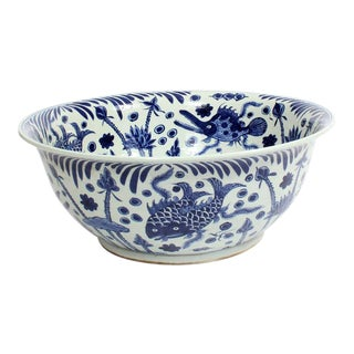 Huge Blue and White Chinese Export Style Bowl