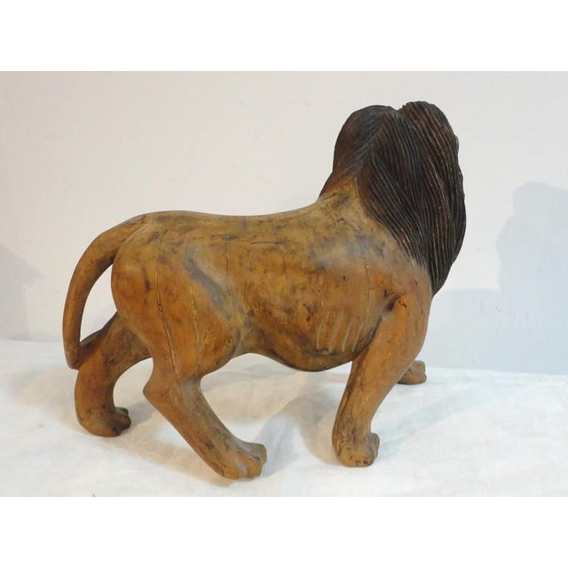 Pair of 19th Century Monumental Hand Carved & Painted Table Top Lions - Image 7 of 10