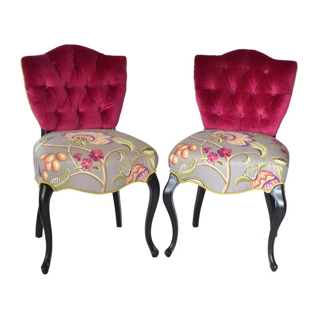 Tufted Velvet Vintage French Chairs - a Pair - Image 1 of 7