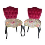 Image of Tufted Velvet Vintage French Chairs - a Pair
