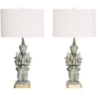 Pair of Vintage Sage Green Ceramic Kneeling Goddess Statue Lamps