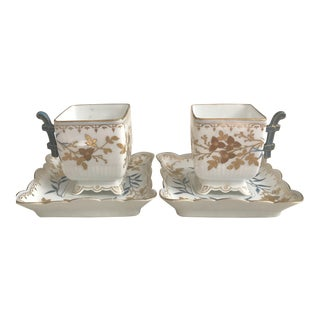 Blue & Gold Demitasse Cups - A Pair