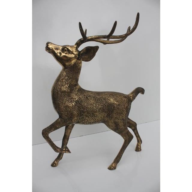 Image of Hollywood Regency Solid Brass Deer Sculpture