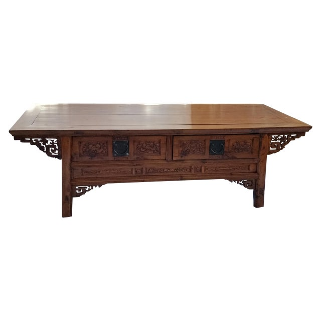 Oriental Oval Coffee Table: Oriental Carved Rosewood Coffee Table